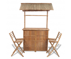 vidaXL Set banco da bar in bambù con 2 sgabelli ed 1 tavolo