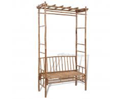vidaXL Panchina con pergola in legno di bambù