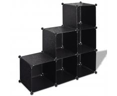 vidaXL Scaffale nero con cubi 6 scomparti 110 x 37 cm