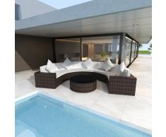 vidaXL Giardino divano a mezza luna in polirattan con tavolo colore marrone