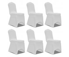 vidaXL Coprisedia in Tessuto elasticizzato Bianco 6 pezzi