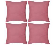 vidaXL Set 4 Federe in cotone rosa 80 x cm