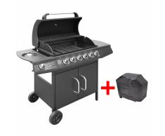 vidaXL Barbecue e Griglia a Gas 6+1 Fuochi Nero