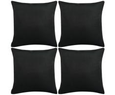 vidaXL Set 4 Federe per Cuscini in Simil-Lino Nero 40x40 cm