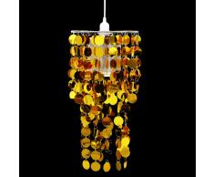 vidaXL Lampadario da Soffitto Rotonda con Paralume Pailette 26 x 56 cm Oro
