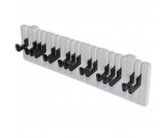 vidaXL Appendiabiti da Parete Modello Tastiera Pianoforte con 16 Ganci Neri
