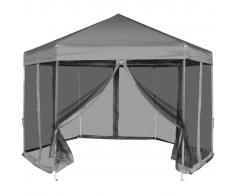 vidaXL Gazebo pieghevole esagonale pop-up con 6 pareti grigio 3,6x3,1 m