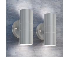 vidaXL Applique LED Parete 2pz Acciaio Inox Proiezione Alto/Basso