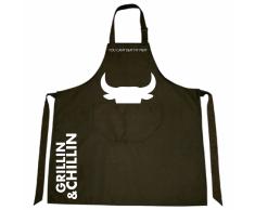 Gusta Grembiule Grillin & Chillin Tessuto 85x70 cm Nero 01250020