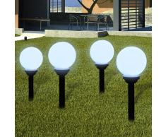 vidaXL Lampione solare a LED da giardino 15cm 4pz con picchetto