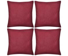 vidaXL Set 4 Federe in cotone rosso bordeaux 50 x cm
