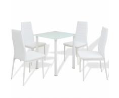 vidaXL Set 5 pezzi Tavolo e Sedie da Pranzo Bianco