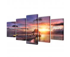 5 pz Set Stampa su Tela da Muro Spiaggia con Padiglione 100 x 50 cm