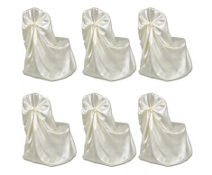 vidaXL Coprisedia Crema per Feste di nozze 6 pezzi