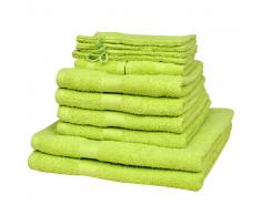 vidaXL Set 12 pz Asciugamani cotone 100% 500 gsm verde mela