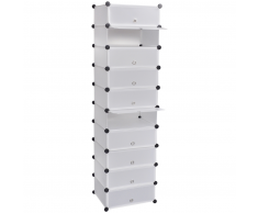 vidaXL Scarpiera bianca con 10 scomparti 47 x 37 172 cm