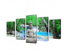 5 pz Set Stampa su Tela da Muro Buddha 200 x 100 cm