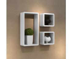 vidaXL Set 3 mensole cubo Bianco con rifiniture in vernice lucida
