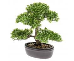 Emerald Ficus Artificiale Mini Bonsai Verde 32 cm 420002