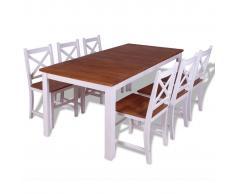 vidaXL Set 7 Pz Sedie/Tavolo Sala da Pranzo in Legno Massello di Teak