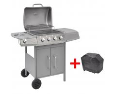 vidaXL Barbecue a Gas 4+1 Fuochi Argento