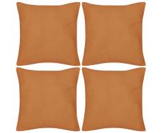 vidaXL Set 4 Federe in cotone arancione 80 x cm