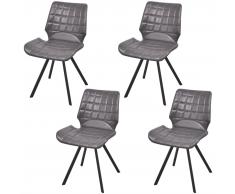 vidaXL Sedia da pranzo in similpelle 4 pezzi colore grigio
