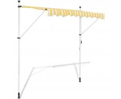 vidaXL Tenda a scomparsa manuale giallo e bianco 300 cm