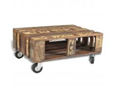 vidaXL Tavolo da caffè in legno riciclato stile antico con 4 ruote
