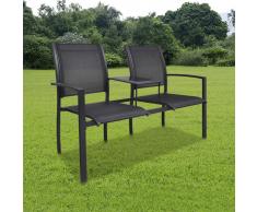 vidaXL Sedia doppia in acciaio textilene doppio nero