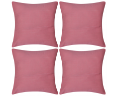 vidaXL Set 4 Federe in cotone rosa 40 x cm