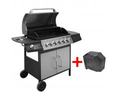 vidaXL Barbecue e Griglia a Gas 6+1 Fuochi Nero Argento