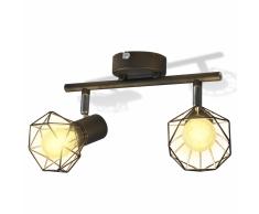 vidaXL Faretto stile industriale nero con 2 lampadine ad incandescenza a LED