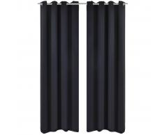 Tenda Termica Oscurante Foderata Nera Blackout 135 x 245 cm 2 pz
