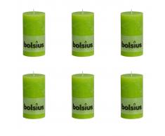 Bolsius Candele Pilastro Rustiche 6 pz 130x68 mm Lime