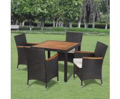 vidaXL Set mobili da giardino in polirattan 4 sedie e tavolo con piano legno