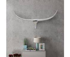 vidaXL Decorazione da parete Testa toro colore argento 100 cm