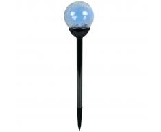 Luxform Lampada Solare Giardino LED Perla Nera Palma 12pz Acciaio Inox