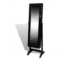 vidaXL Armadietto portagioielli con specchio nero