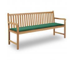 vidaXL Cuscino per Panca da Giardino Verde 180x50x3 cm