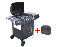 vidaXL Barbecue e Griglia a Gas 4+1 Fuochi Nero