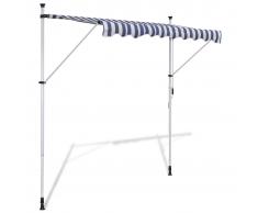 Tenda da Sole a Scomparsa 250 cm ad Azionamento Manuale Blu/Bianco