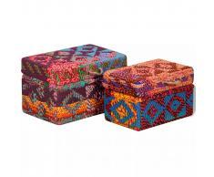 vidaXL 2 pz Set Scatole Portaoggetti in Tessuto Multicolore