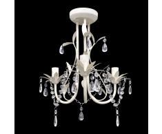 vidaXL Lampada da soffitto pendente di cristallo, Lampadario elegante, Bianco
