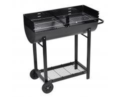 vidaXL Barbecue braciere con griglia a legna e carbone