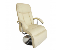Poltrona relax massaggiante reclinabile elettrica bianco crema