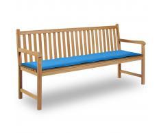 vidaXL Cuscino per Panca da Giardino Blu 180x50x3 cm