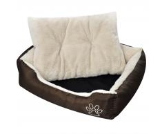 Letto caldo per cani marrone e beige con cuscino imbottito XL