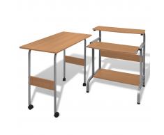 vidaXL Tavolo scrivania per computer postazione di lavoro regolabile marrone