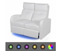 vidaXL Poltrona da Cinema Reclinabile a 2 posti con LED Pelle Artificiale Bianca
